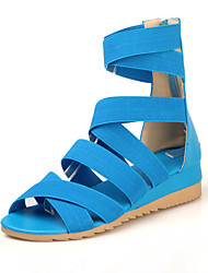 Women's Shoes Synthetic Wedge Heel Gladiator/Comfort/Round Toe Sandals Outdoor/Dress/Casual Blue/Red/White/Beige