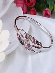 S925 Sterling Silver Inlay Natural Tourmaline Bracelet Opening Un-locked Eight Flower Bracelet