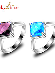 Statement Rings Silver Topaz Fashion Purple Blue Jewelry Party 1pc