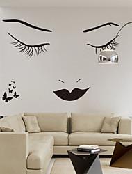 adesivos de parede adesivos de parede, clássico preto pestanas longas beleza pvc adesivos de parede