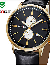 WEIDE Men Luxury Style Genuine Leather Strap Quartz Watch