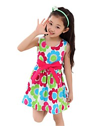 Girl's Summer Sleeveless O-neck Bow Belt Printing Floral Beach Dresses (Cotton Blends)