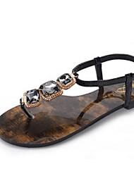 Women's Shoes Flat Heel T-Strap Sandals Casual Black/Gold