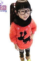Waboats Winter Girls Fawn Printed Hood Velvet Mohair Top