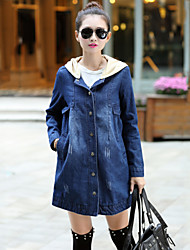 Women's Casual/Plus Sizes Inelastic Long Sleeve Long Coat (Denim)