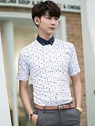 Men's Short Sleeve Shirt , Cotton/Cotton Blend Casual Plaids & Checks