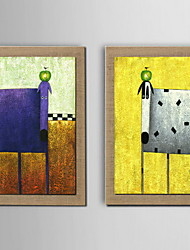 Oil Painting Modern Abstract Animals Set of 2 Hand Painted Natural linen with Stretched Frame