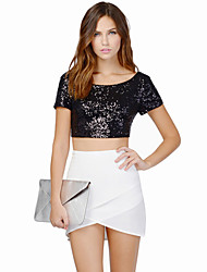 Women's Solid Black T-shirt , Deep U Short Sleeve Sequins