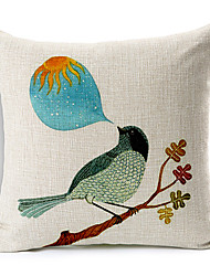Country Bird Cotton/Linen Decorative Pillow Cover
