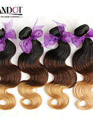 "4 Pcs Lot 14""-28"" Ombre  Peruvian Virgin Human Hair Extensions/Weaves Body Wave 3 Three Tone Black Brown Blonde 1B/4/27#"