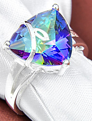 Family Gift Fire Triangle Fire Mystic Topaz Gem 925 Silver Statement Flower Rings For Wedding Party Daily Casual 1pc