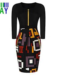 ZAY Women's Lady Work Zipper ¾ Sleeve Slim Pencil Dress