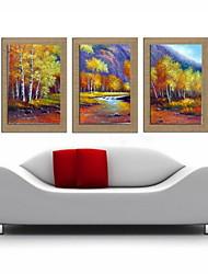 pintura a óleo decoração paisagem abstrata pintados à mão de linho natural com esticada enquadrado - conjunto de 3