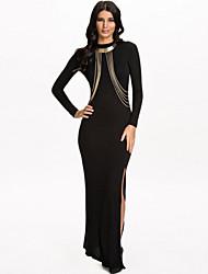 Women's Chain Embellished Maxi Evening Dress
