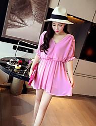 mini vestido, gasa de color rosa / blanco / negro ocasional de las mujeres