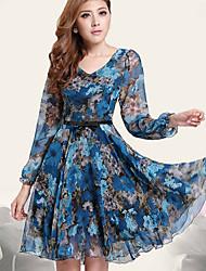 Women's Round Dresses , Chiffon Print Long Sleeve SASA