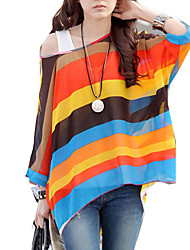 Women Round Neck Batwing Sleeve Semi Chiffon Blouses Tops Clothes