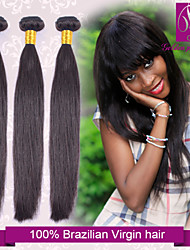 "3pcs/lot 12""-30"" Brazilian Virgin Hair Natural Black Silky Straight Human Hair 100% Human Hair Weave Brands"