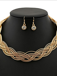 Vintage Style Zinc Alloy Chain Pattern Jewelery Set(Earrings & Necklace)