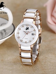 Women's stainless steel and Ceramic watch with Japanese quartz and water resistant