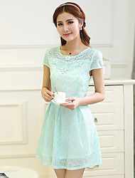 Women's Casual/Print/Lace/Cute/Party/Plus Sizes Beads Micro-elastic Short Sleeve Above Knee Dress (Chiffon/Lace)
