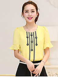 Women's Casual/Daily Simple Summer Blouse,Print Short Sleeve Blue / Pink / White / Yellow Medium