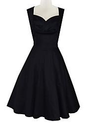 vintage couleur solide robe sans manches sexy des femmes