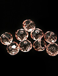Beadia 80PCS Glass Facetted Crystal Beads 8x10mm Flat Round Shape Pink Color DIY Spacer Loose Beads