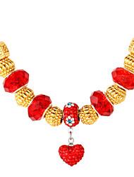 topgold novo ouro contas europeu charme coração gargantilha colar banhado a ouro 18k strass swa para as mulheres 50 centímetros de alta