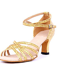 Non Customizable Women's Dance Shoes Latin Paillette Chunky Heel Silver/Gold