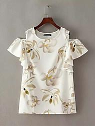 Women's Print White/Black Blouse , Round Neck Short Sleeve Flower/Ruffle