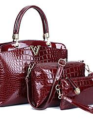 Women PU / Patent Leather Shell Shoulder Bag / Tote - Blue / Red / Black / Burgundy