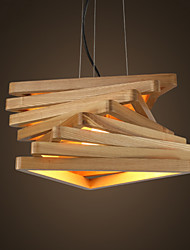 New Chinese Art Geometric Triangle Wood Chandelier Lamp IKEA Restaurant Carbon Ash Wood Bedroom Lamp Study Lamp