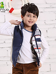 2015 Boy's Winter Striped Check Vests Cotton Padded WaistCoats Thick Jackets Down Coats Children Clothing Kids Clothes