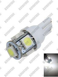 1X Pure White 6000K T10 W5W 5 SMD 5050 LED Car Clearance Lamp Side Light DC12V A007