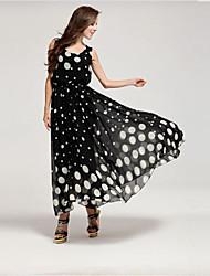 Women's Polka Dot Chiffon Maxi Evening Or Beach Dress