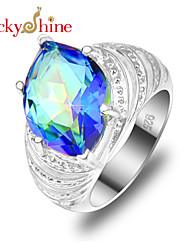 Lucky Shine Women's/Kid's Unisex Silver Classic Rings With Gemstone Fire Horse Shaped Rainbow Mystic Topaz Crystal