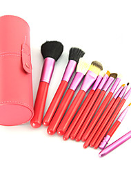 12PCS Pink Cosmetic Set Eyeshadow Wood Brush Blusher Pink Holder Make Up Brushes Estojo De Maquiagem Pinceis