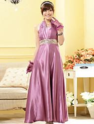 Women's Black/Yellow/Purple Dress , Party/Plus Sizes Halter Sleeveless