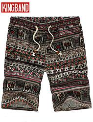 Masculino Shorts Masculino Estampado Casual/Tamanhos Grandes Linho