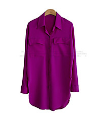 Women's Solid Black/Purple Shirt , Shirt Collar Long Sleeve