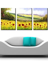 живопись маслом украшения абстрактные цветы пейзаж ручной росписью холст с натянутой в рамке - набор из 3