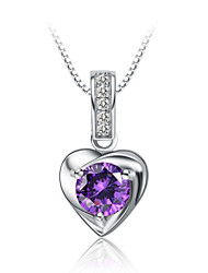 Jazlyn® Woman Authentic Platinum Plated 925 Sterling Silver Purple Cubic Zirconia Necklace Pendant Valentine's Day Gift