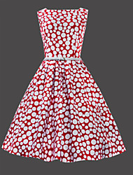 Women's Vintage Slim Polka Dot Sleeveless Dress(with Belt)