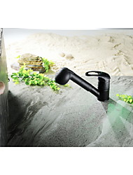 Aquafaucet Single Lever High Arc Pull Down Kitchen Faucet with Retractable Pull Out Wand, Swivel Spout Oil Rubbed Bronze