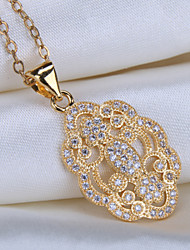 Alloy Jewelry Simple Generous Flowers Gift Box Chain Pendant Necklace