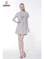 KUKABCN Women's Cotton Printing Cartoon Bunny Short Sleeve   T-Shirt Grey Dress Pajama Home Wear
