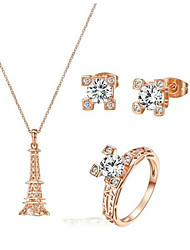 T&C Women's Classic Eiffel Tower Jewelry Set 18K Rose Gold Plated Clear Crystal Eiffel Tower Necklace Earring Ring Set