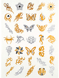 4PCS Flash Tattoo Gold Tattoo Taty Tatouage Temporary Tattoo Sticker Metallic Tattoo Metal Tatoo Fake Tatto