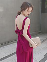 Mulheres Vestido Maxi Sem Manga Decote Redondo Frente Única Mulheres
